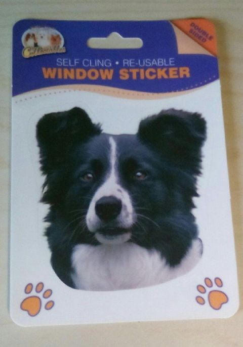 BORDER COLLIE  DOUBLE SIDED WINDOW STICKER style 1 looking forward